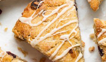 Close up image of cranberry orange scones.