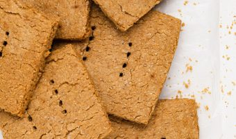 overhead image of vegan graham crackers on a table