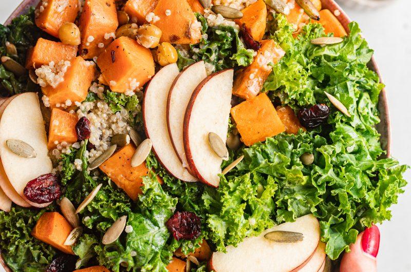 Autumn Harvest Bowl with Maple Tahini Dressing (Vegan, Gluten-Free)